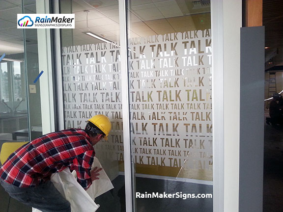 Frosted Glass Film RainMaker Signs Seattle WA