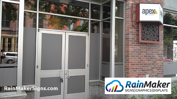 Frosted Window Vinyl In Seattle Wa For Apex Facility