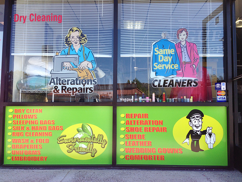IRONING DRY CLEANING WINDOW  SIGN STICKER