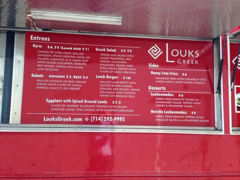 Catering Truck menu board Signs Orange County