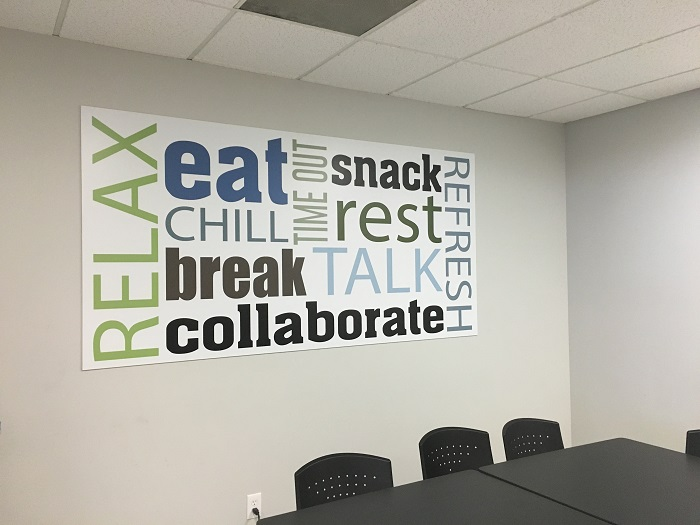 Wall Decor For Corporate Office : Signs and graphics make over cwe offices in fullerton ca