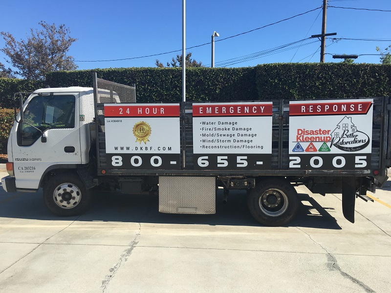 Vinyl graphics for stakebed trucks in Orange County CA