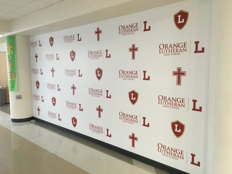 Step and repeat wall graphics for schools in Orange County CA