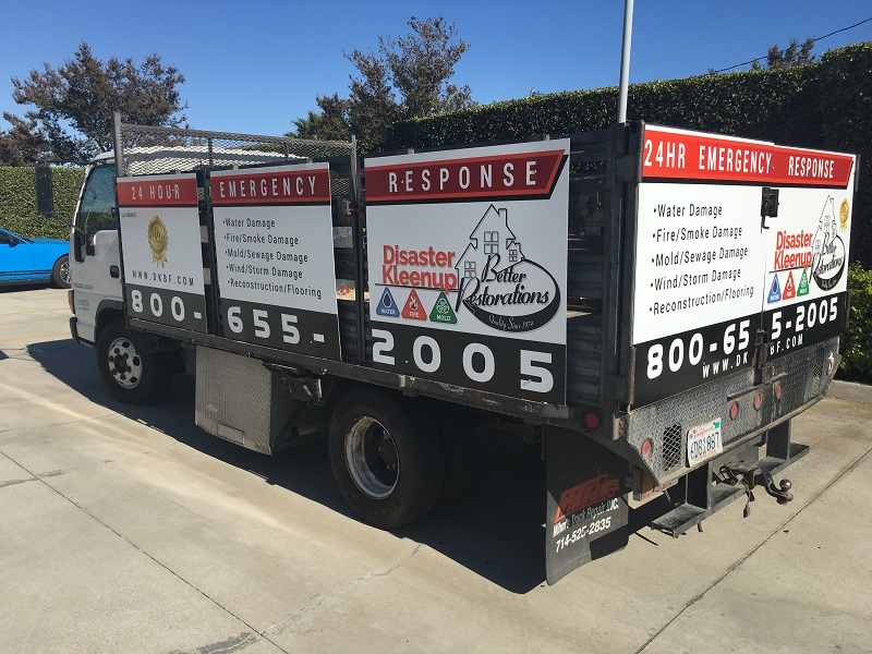 Vinyl graphic panels for stakebed trucks in Orange County CA