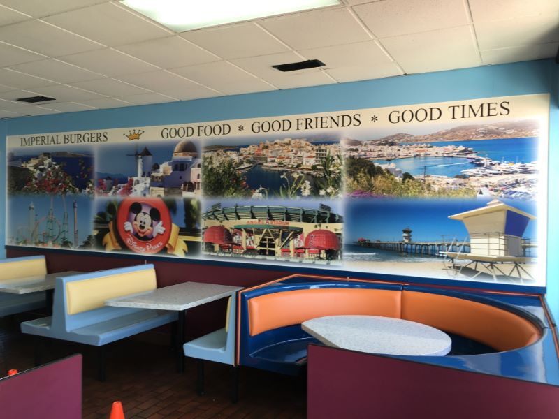 Wall mural brands buena park restaurant and adds interest
