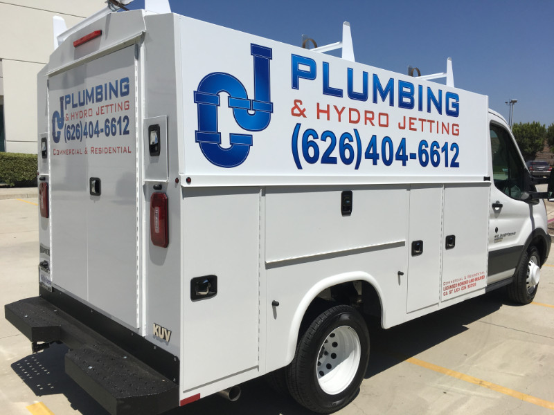 Custom vinyl van graphics for plumbing contractors in La Habra CA