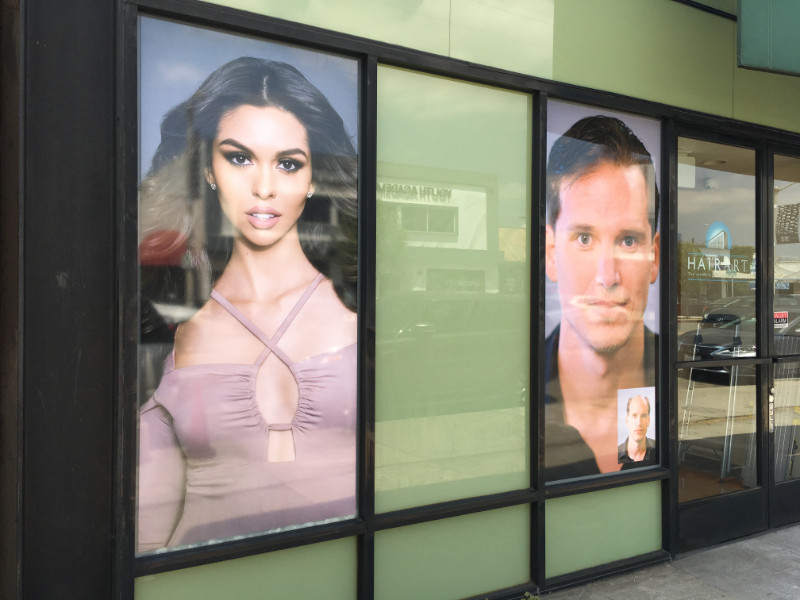 Perforated and Anti-Graffiti Window Graphics for Los Angeles Wig