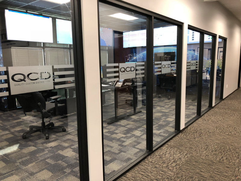 etched and frosted glass graphics in Orange County