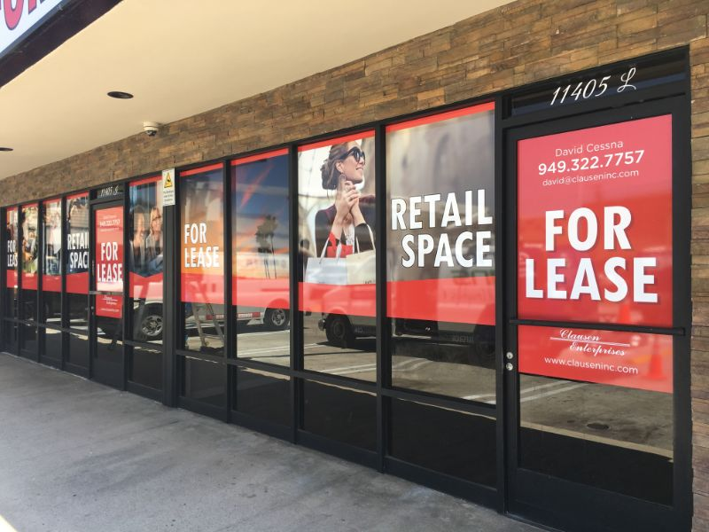 """Commercial Space """"For Lease Signs"""" and Window Graphics in Norwalk CA"""