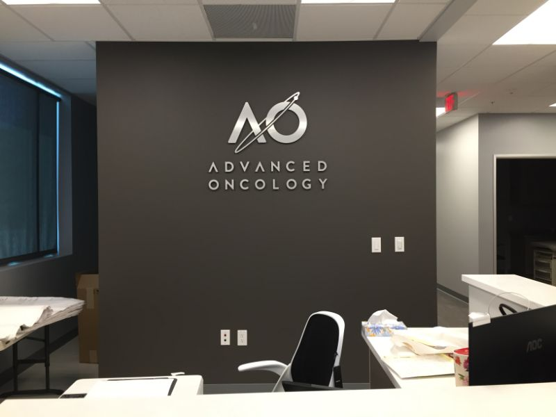 custom office logo sign and vinyl wall graphic
