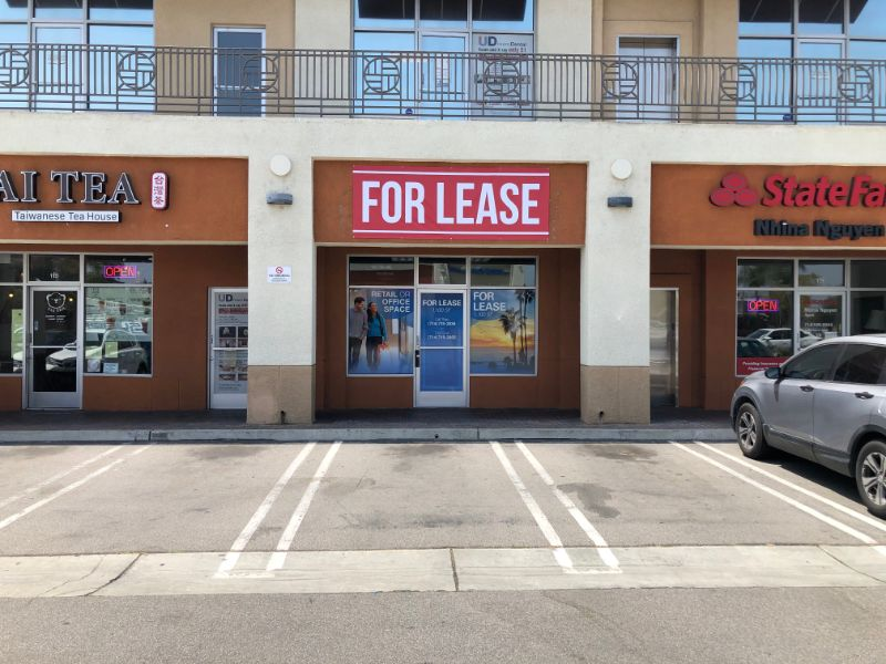 """""""For Lease"""" Window Graphics and Banners in Garden Grove CA"""