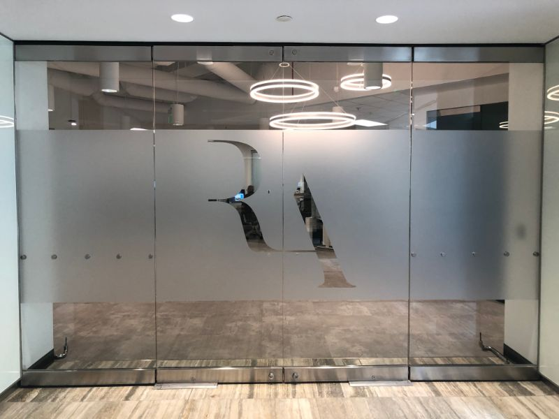 Etched and Frosted Glass Graphics Provide Privacy with an Elegant Look in Irvine CA