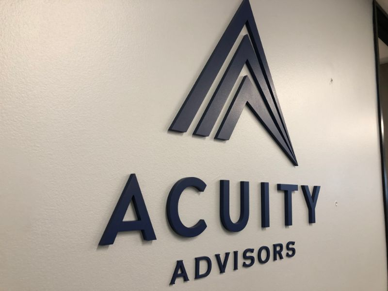 Professional Office Wall Logo Signs Welcome Visitors to Acuity Advisors in Santa Ana CA