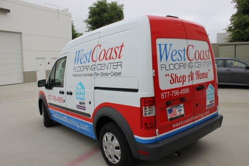 Vehicle wrap graphics for west coast flooring 39 s shop at for West coast floors