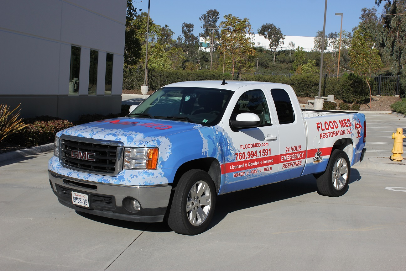 Truck Wrap In Carlsbad Ca For Flood Med Restoration Inc Custom Vehicle Fleet Wraps on van wraps graphics