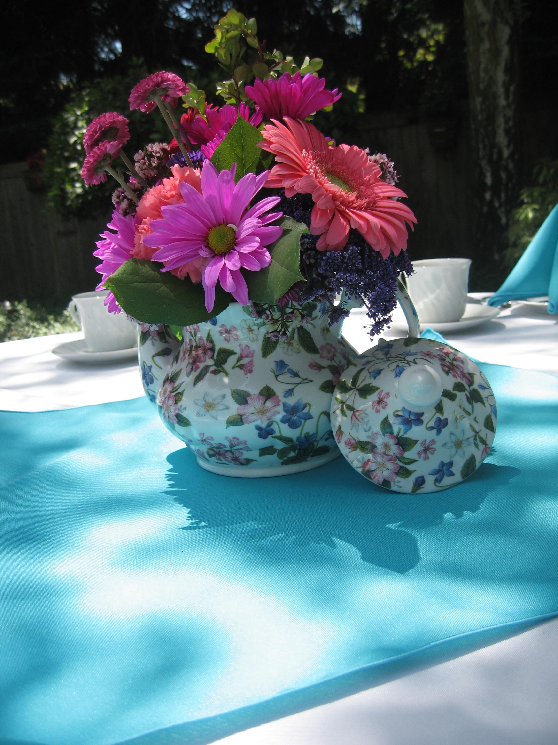 bridal shower teapot flower centerpiece