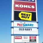 Pylon signs are BIG, tall signs that can be seen from a distance.