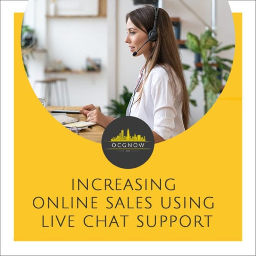 Woman offering live chat support