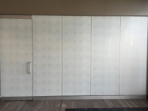 Organic Cotton film with Frost film laminated together installed on glass