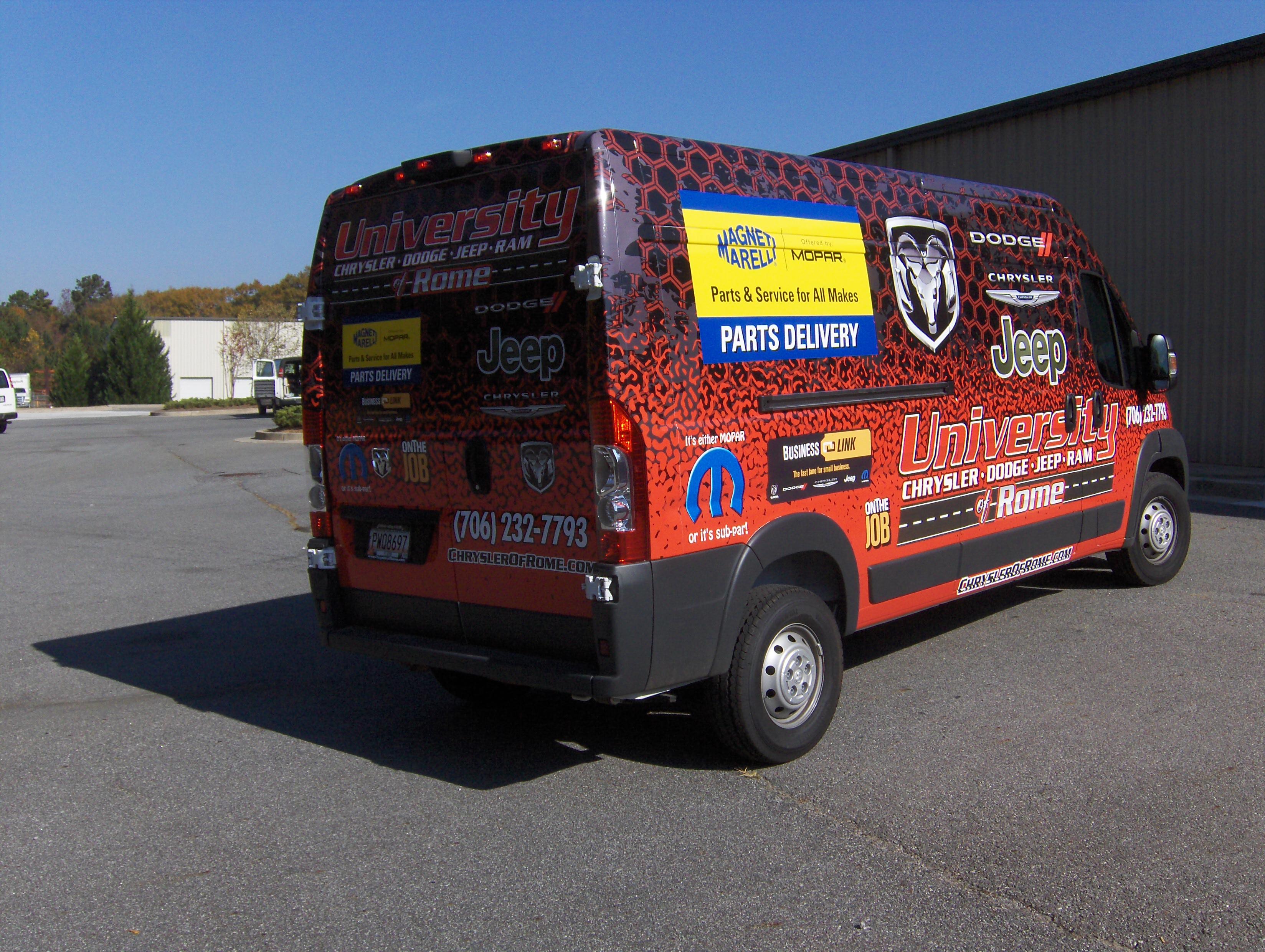 Custom Truck and Van Wraps in Rome, GA for University Chrysler Dodge Jeep Ram