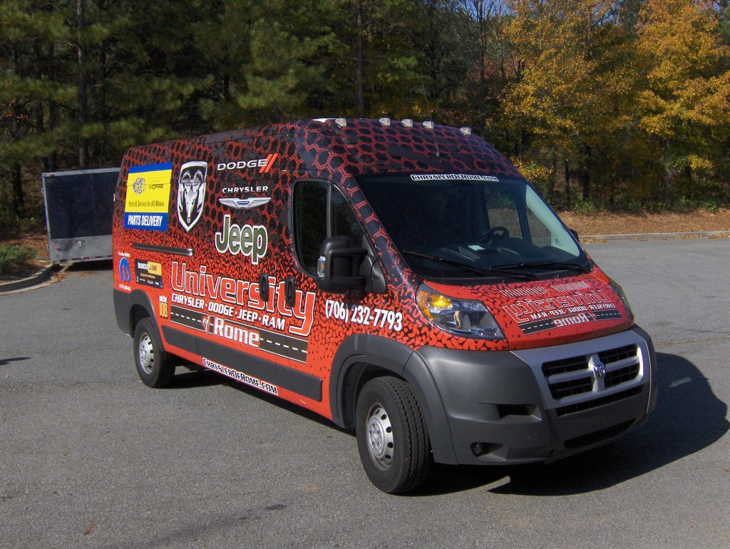 Dodge Ram Promaster >> Custom Truck and Van Wraps in Rome, GA for University Chrysler Dodge Jeep Ram