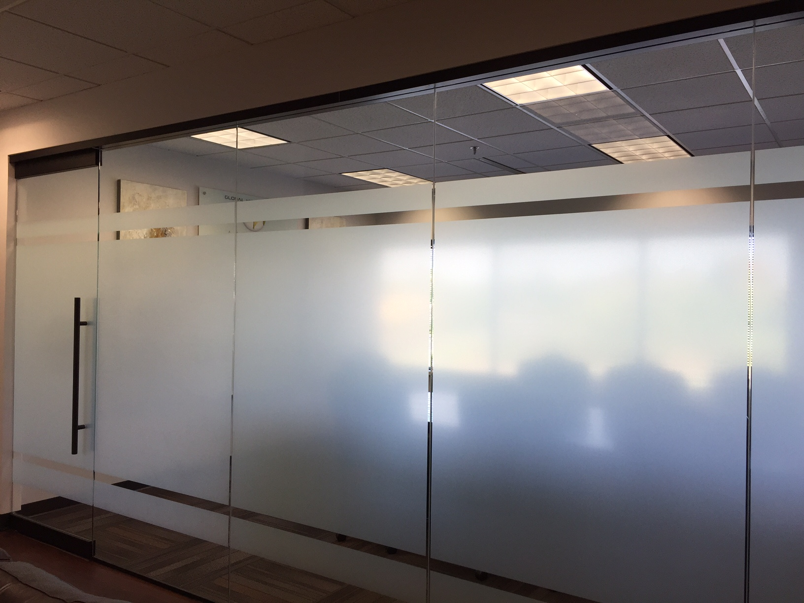 Custom Etched Glass On A Conference Room Wall In Waukesha Wi