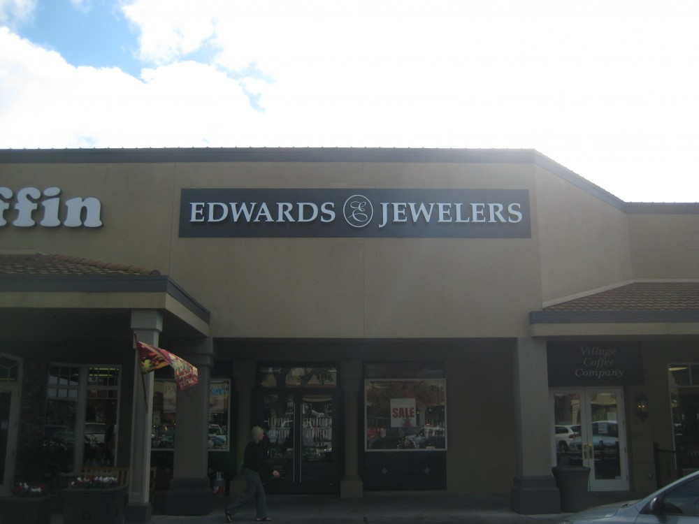sign replacement project for edwards jewelers in modesto ca