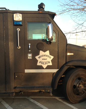 Custom Hand Painted Lettering for SWAT Vehicle in Modesto, CA