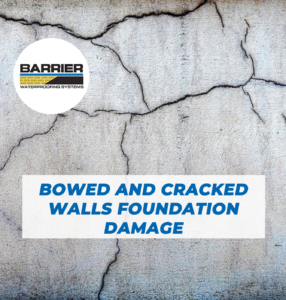 Worn out foundation wall bowed and cracking damage from consistent moisture intrusion