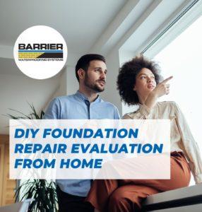 Homeowners performing a DIY foundation repair evaluation