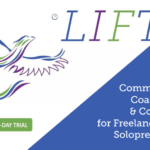 Take Wing Coaching dragon logo in blue, green, and purple. LIFT in Take Wing's colors. Community, Coaching and Courses for Freelancers and Solopreneurs in white font.
