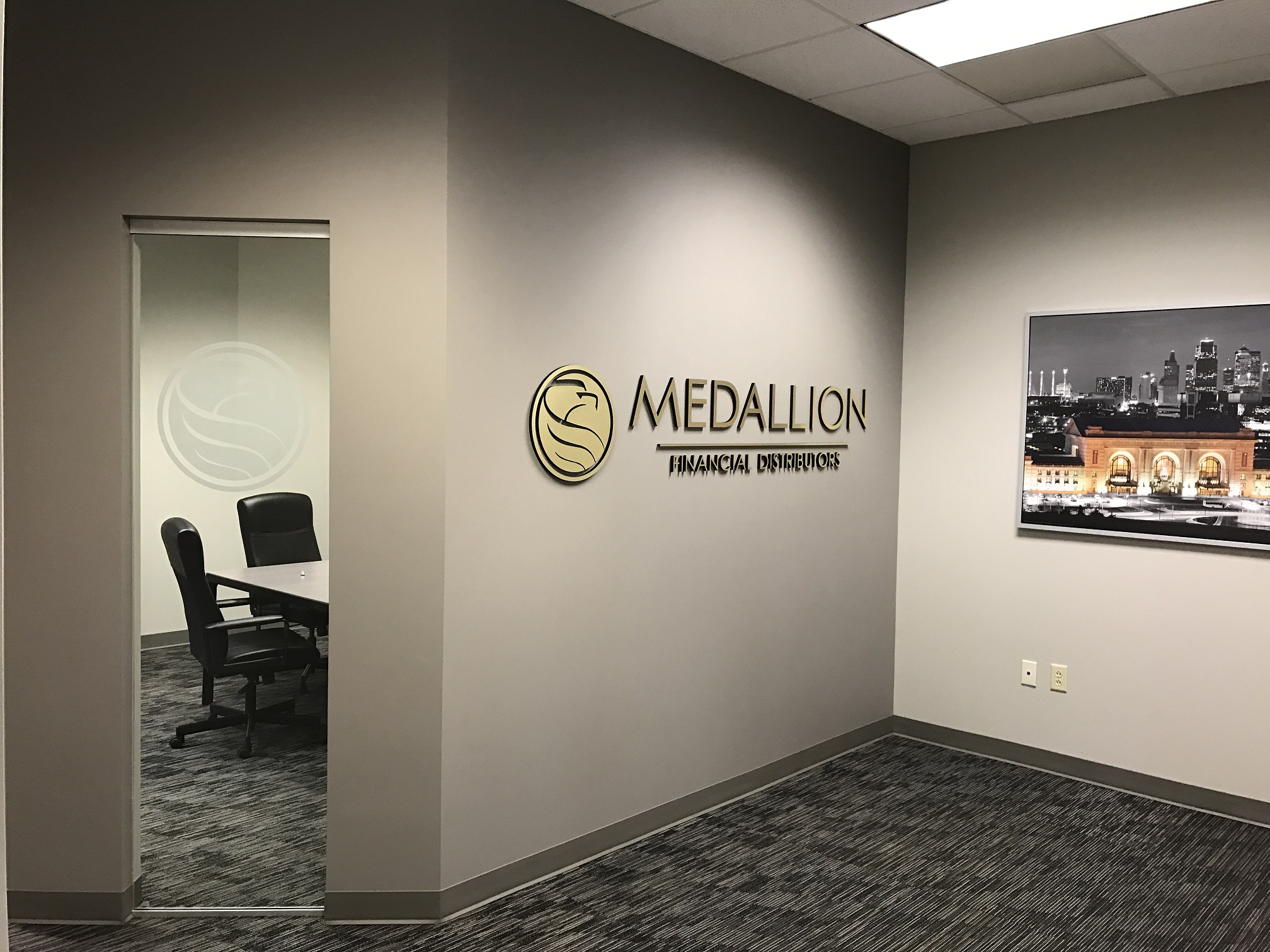 Medallion Financial Distributor Lobby Sign And Window