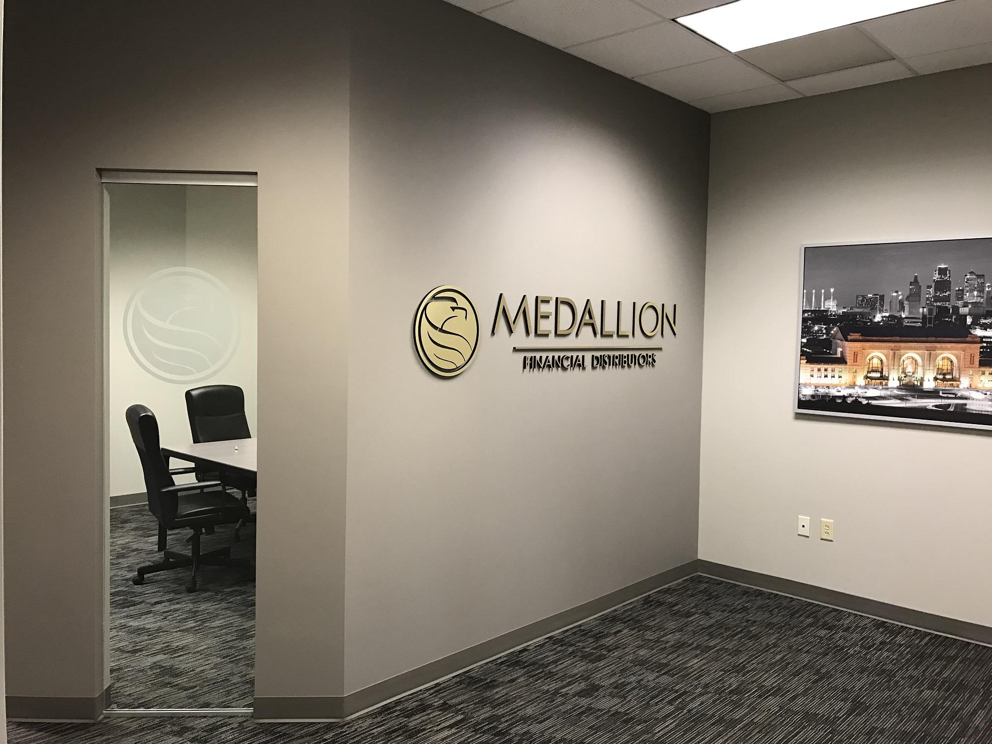 Medallion Financial Distributor Lobby Sign And Window Frost Logos - Medallion flooring distributor