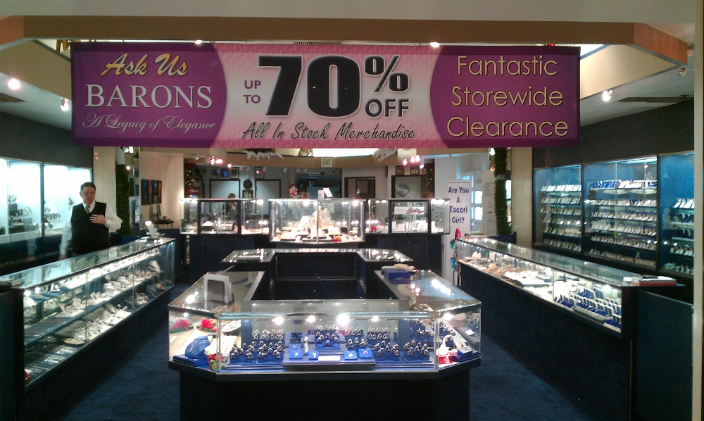 697dc8f52 Fabric Banner For Barons Jewelers' Mall Store Entrance in Pleasanton, CA