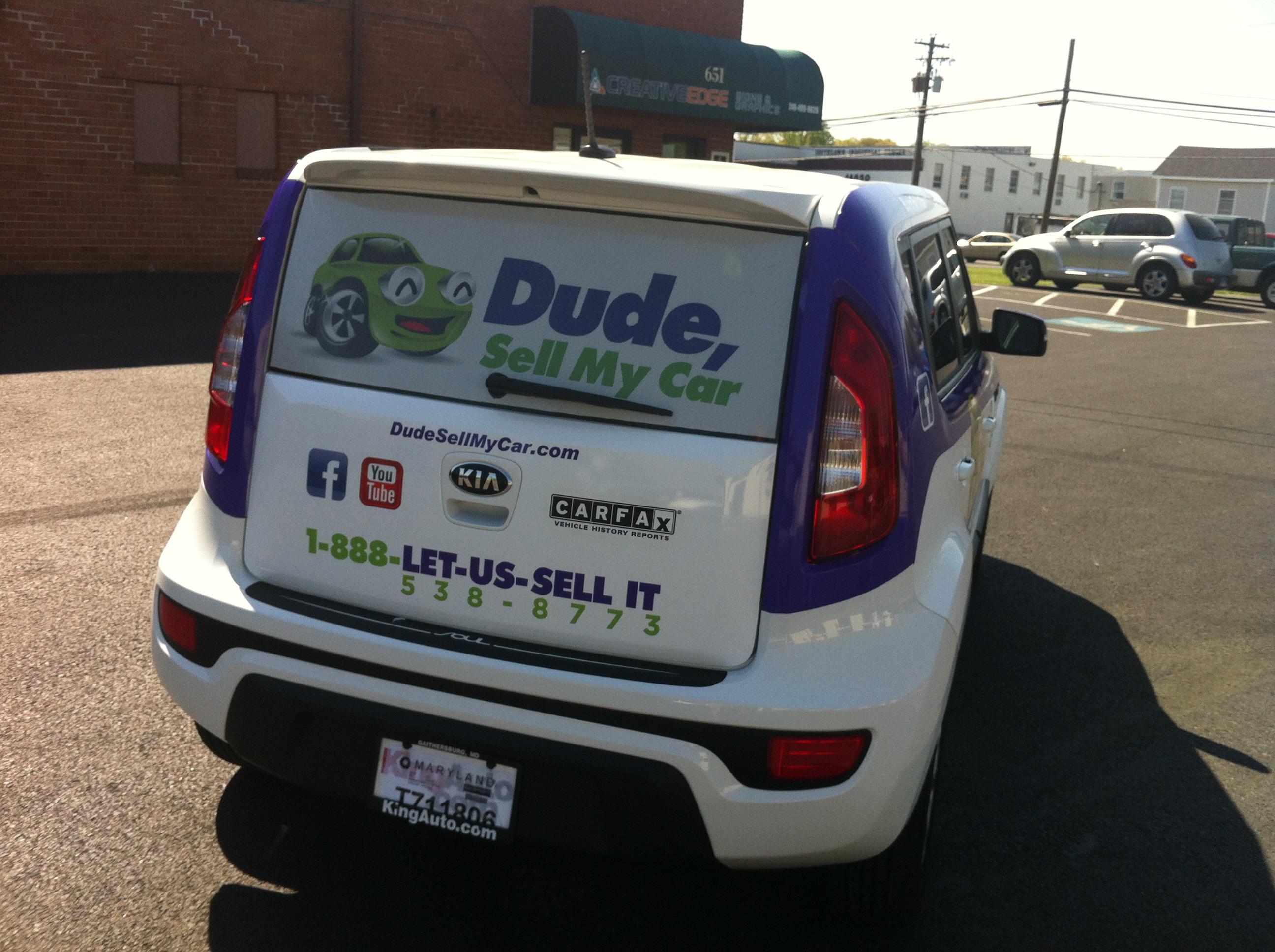 Dude Sell My Car, car warp, vehicle wrap, vehicle graphics