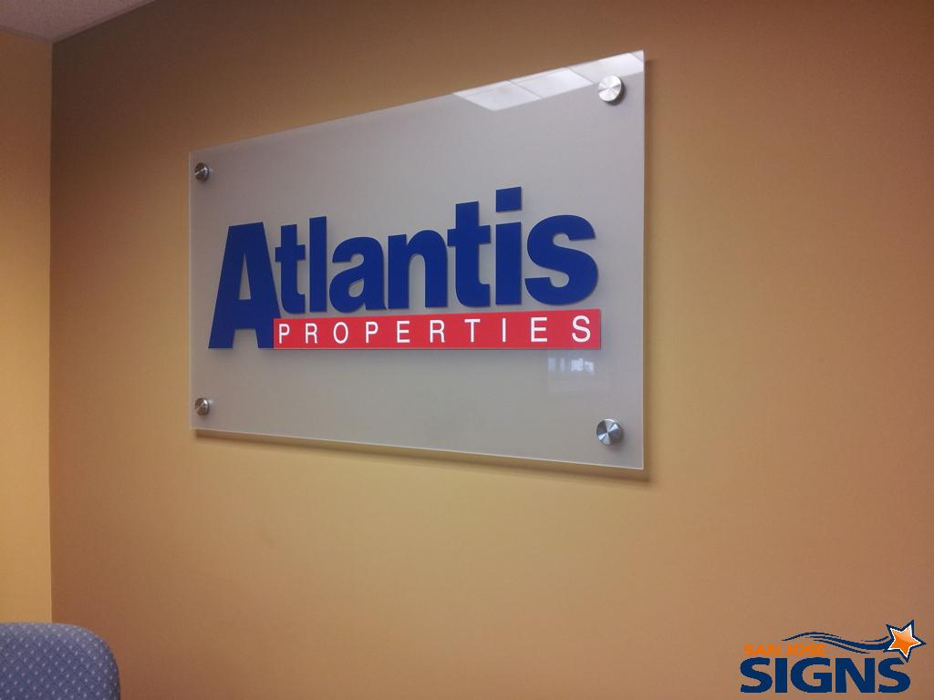 Frosted Glass & Plexiglass Lobby Signs Great for Property