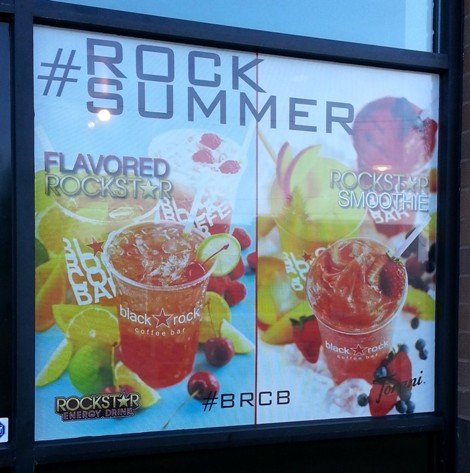 Window Graphics Point Of Sales Signs For Black Rock Coffee Bar In