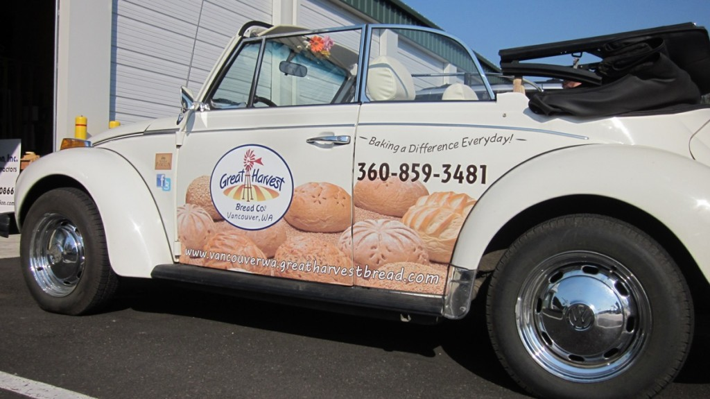 groovy vw beetle bug car wrap vehicle graphics  great harvest bread company  vancouver wa
