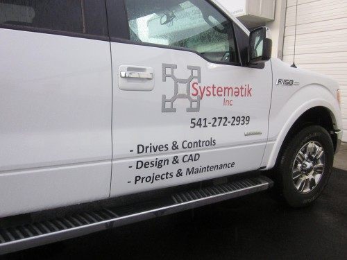 Vehicle Wrap Graphics For A Work Truck  Matching Hard Hat Decals - Vehicle decals for business