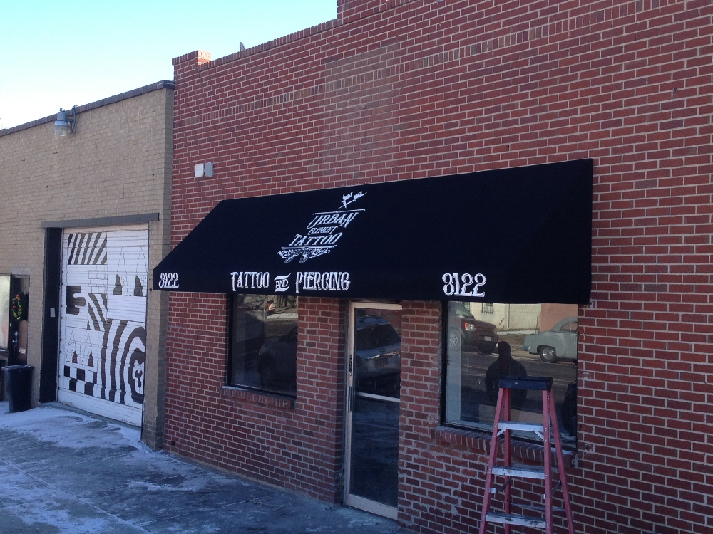 long lasting latex awning for urban elements tattoo shop